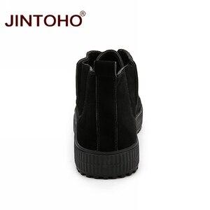 Image 5 - JINTOHO zapatos de invierno para hombre, botas de nieve de cuero marrón casuales, botas de invierno baratas