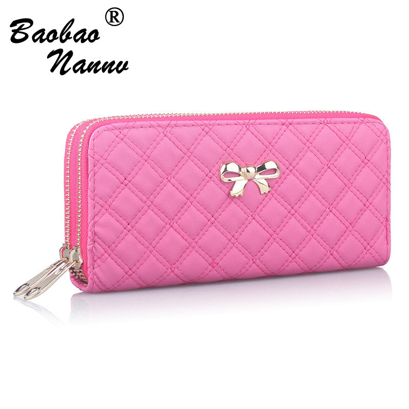 2018 Women Wallet Purse Female Long Wallet Gold Bow Solid Pouch Handbag For Woman Coin Purse Card Holders Portefeuille Femme fashion girl change clasp purse money coin purse portable multifunction long female clutch travel wallet portefeuille femme cuir