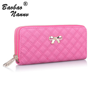 2019 Women Wallet Purse Female Long Wallet Gold Bow Solid Pouch Handbag For Woman Coin Purse Card Holders Portefeuille Femme(China)