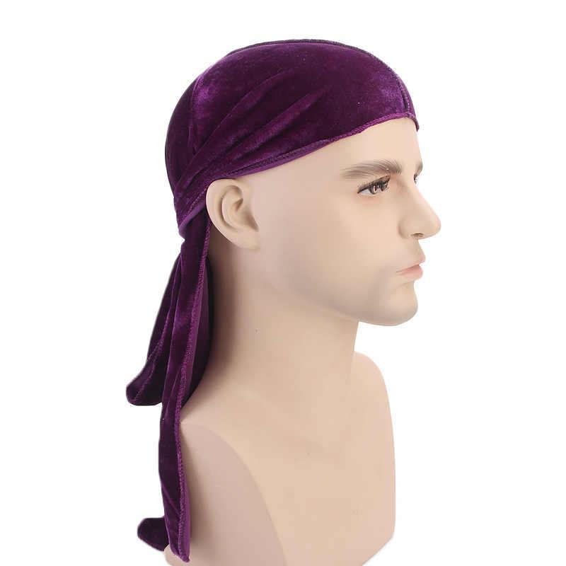 ... Muslim Men Women Bandana Turban Hat Wigs velvet doo Durags headwrap  chemo cap Biker Headwear Headband ... e8c2e1fd6b7e