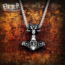 Beier 316L stainless steel Odin sheep head Amulet nose Viking necklace pendant Men Fashion Pagan High Quality Jewelry LP403(China)