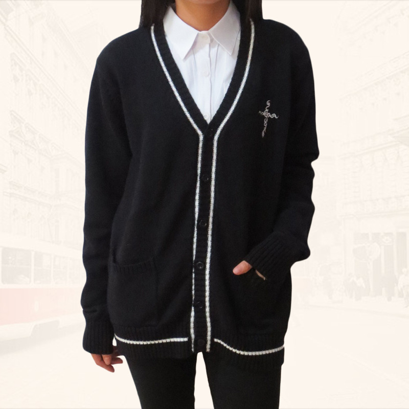 Brilliant Japanese Jk Knit Cardigan Clothes Long Sleeve V-neck Sweater Cross Embroidery Secondary Color Black & White Women's Clothing