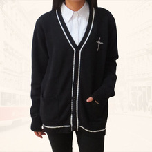 лучшая цена Japanese JK Knit Cardigan clothes Long sleeve V-Neck Sweater Cross embroidery Secondary color Black & White