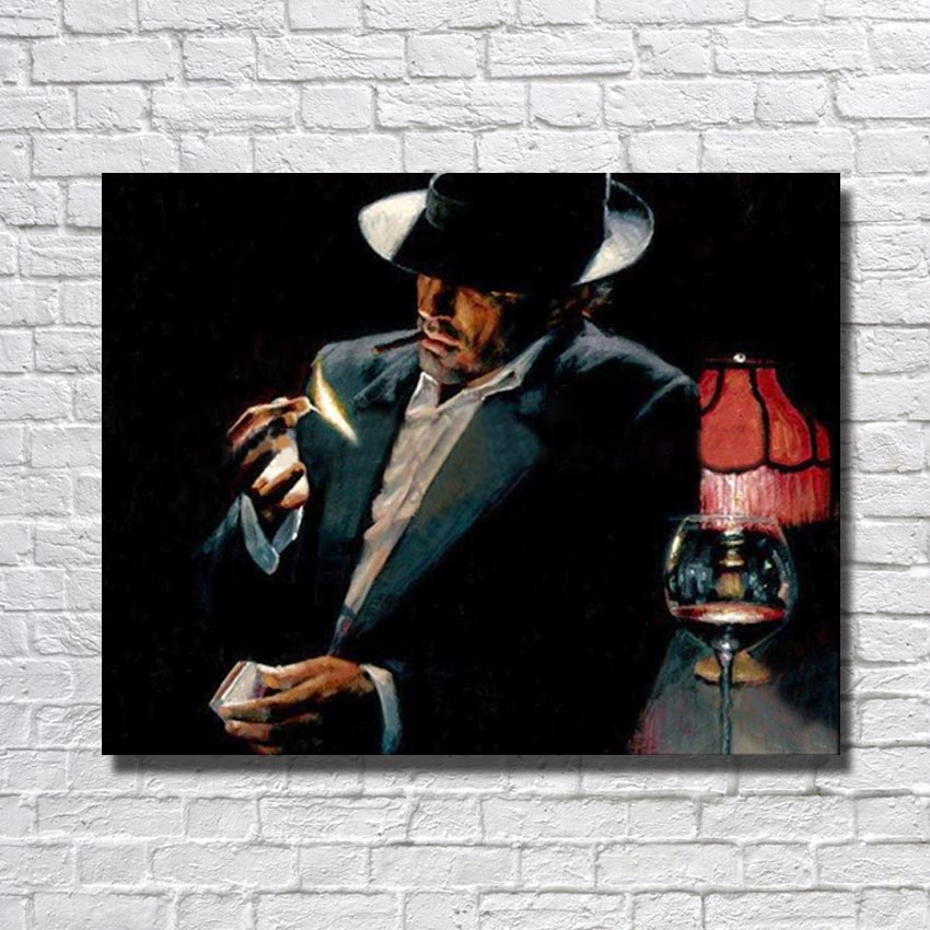 Modern Oil Painting Pictures Hand made Smoking Man Living