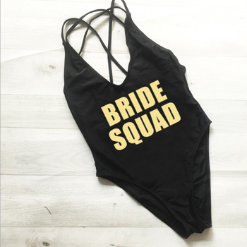 Sexy Letter BRIDE SQUAD One Piece Swimsuit Swimwear Women Beach Wear Bathing Suits Bodysuit High Cut Red Black Wedding Party