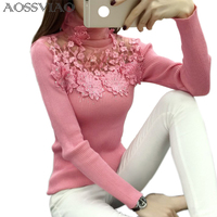 High Elastic Knitted Sweater Women 2016 Autumn Winter Lace Patchwork Long Sleeve Women Sweaters And Pullovers
