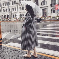 2018 Spring Winter European Women Wool Blends Plaid Cocoon Coat Black White Thick Long Loose Coats