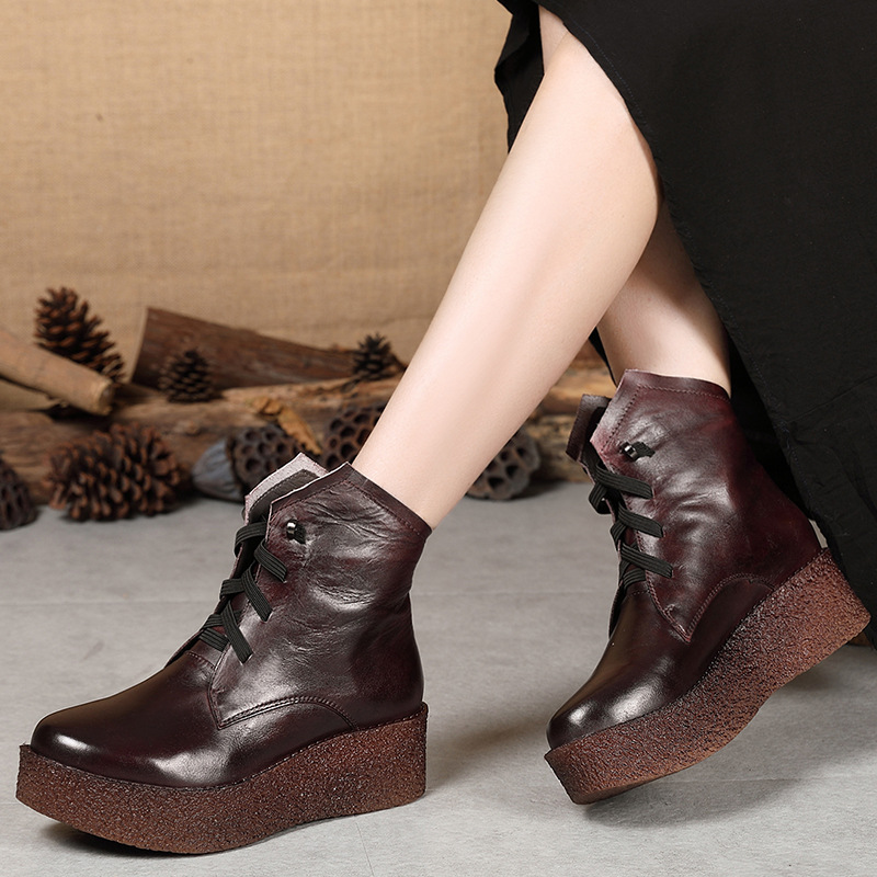 Women Genuine Leather Ankle Boots Lace Up 6 CM High Heels Wedge Shoes Women Winter Leather