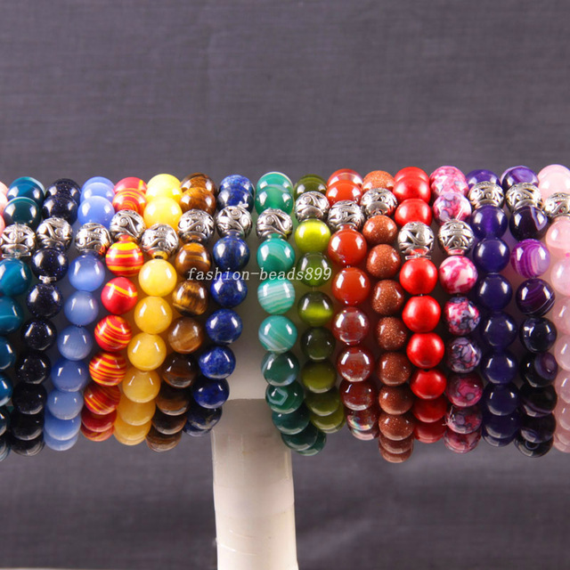 "Silver Stretch 10mm Round Beads Natural Agate Sandstone Turquoise Lapis Jade Carnelian Garnet Amethyst Bracelet 8"" 10Pcs H1761"