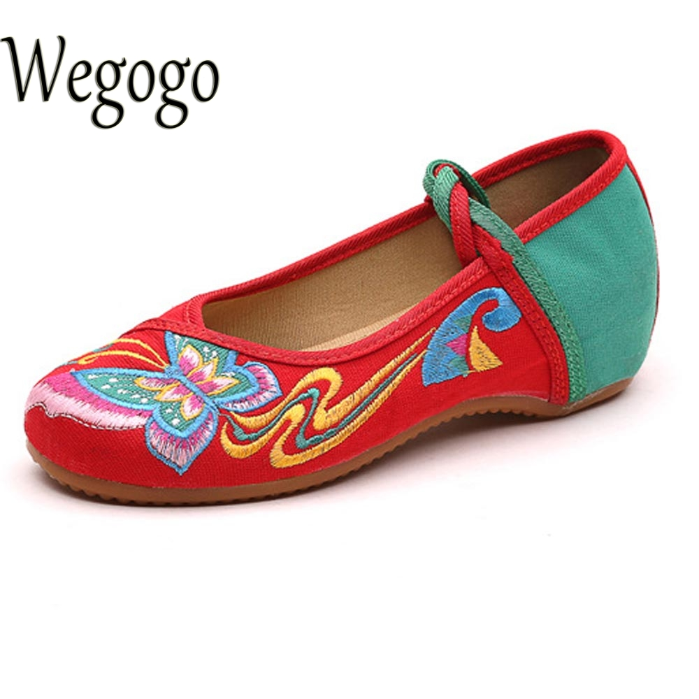 Chinese Women Shoes Flats Butterfly Embroidery Lace Up Soft Sole Cloth Dance Ballet Flat Zapatos Planos Mujer Plus Size 41 peacock embroidery women shoes old peking mary jane flat heel denim flats soft sole women dance casual shoes height increase