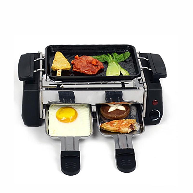 1000 w Non-stick Famiglia Barbecue Elettrico Raclette Grill per 2 a 4 Persona Senza Fumo Grill Raclette Pan Elettrico piastra 220 v