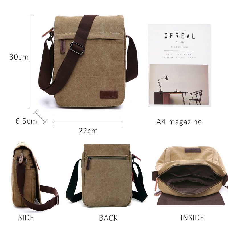 Scione Solid Kanvas Tas Selempang Tas Gesper Santai Portable Tas Bahu Korea Tren Sederhana Pack untuk Pria Wanita