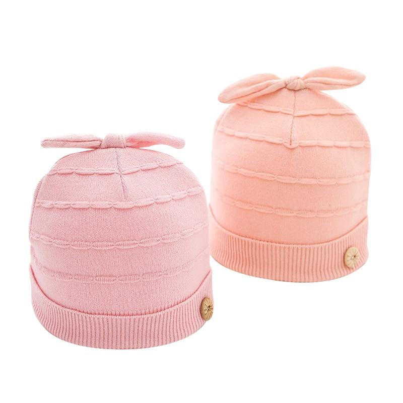 Knitted Cute Baby Hat Cotton Newborn Beanie Hat Rabbit Ear Corchet Beanie Spring Baby Girl Beanie Newborn Hat Baby Girl Clothing