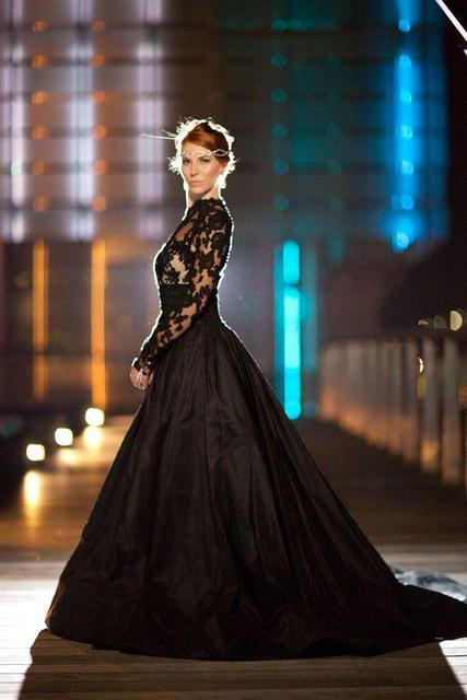 Vintage Style Long Sleeve High Neck Black Lace Wedding Dresses ...