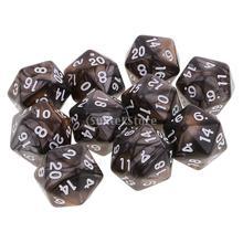 10 шт 20 сторонних игральных костей D20 многогранные игральные кости для подземелий и драконов настольные игры Кофейный Серый