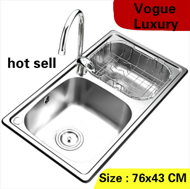 Free Shipping Home High Quality Wash Vegetables High Volume Kitchen Double Groove Sink Vogue 304 Stainless Steel 76x43 CM