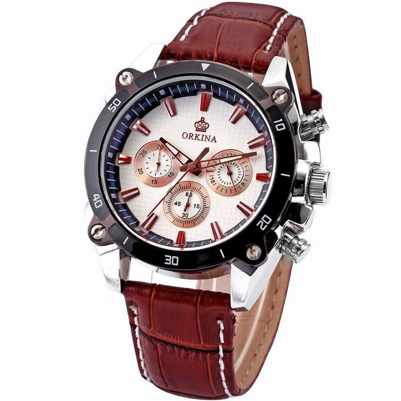 Orkina Mens White Dial 6 Hands Coffee Strap Sport Quartz Wrist Watch Valentine s Day Gifts