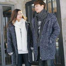 Man And Woman Sweater Winter Long Clothing Couple Knitted Cardigan Down Coat Fashion Korean Warm Windbreaker Jacket A4594