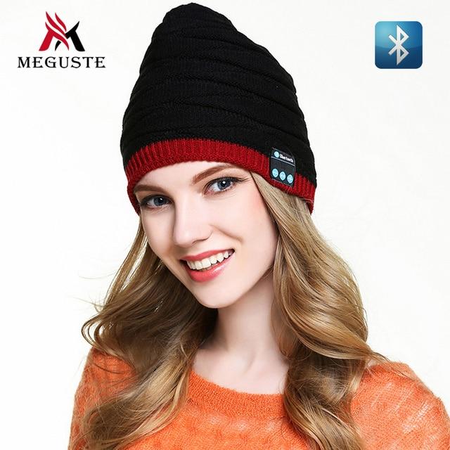 Meguste черный и красный мода Bluetooth Зимняя шапка, Bluetooth Шапочка Вязаная Шапка для мужчин и женщин, gorros mujer зима.
