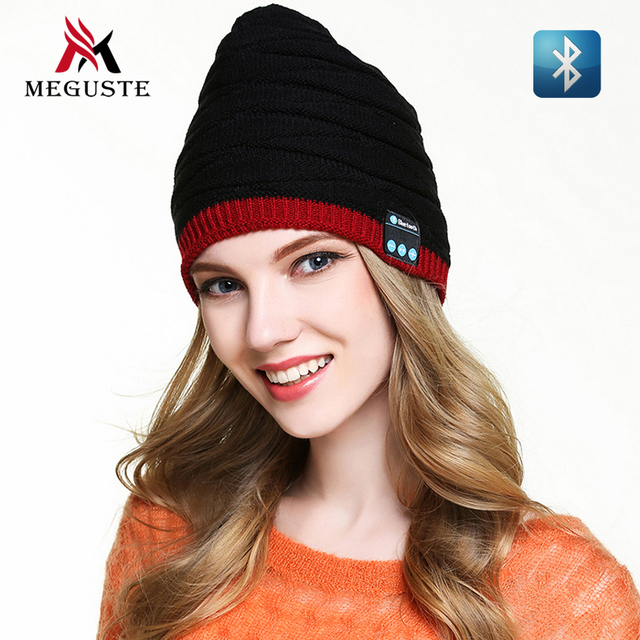 Meguste black and red fashion Bluetooth Winter hat , Bluetooth Beanie Knitted Hat for men and women,gorros mujer invierno.