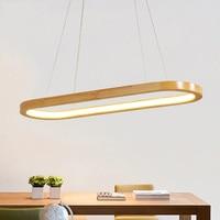 Dining Room Wood LED Pendant Light Droplamp Modern Oval Wooden Frame Pendant Lamp Kitchen Island Office Study Hanging Lighting