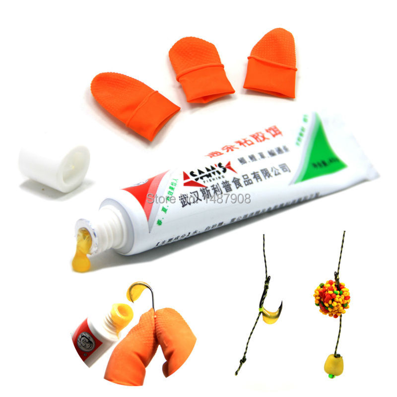 SAMS 1 Tube Fishing Bait Glue for Maggots Rices Small Pellets Fishing Carp Fishing Baits Adding with Finger Cots 1 pack clean dry maggots for fishing high protein nutritious fish bait food winter carp fishing baits