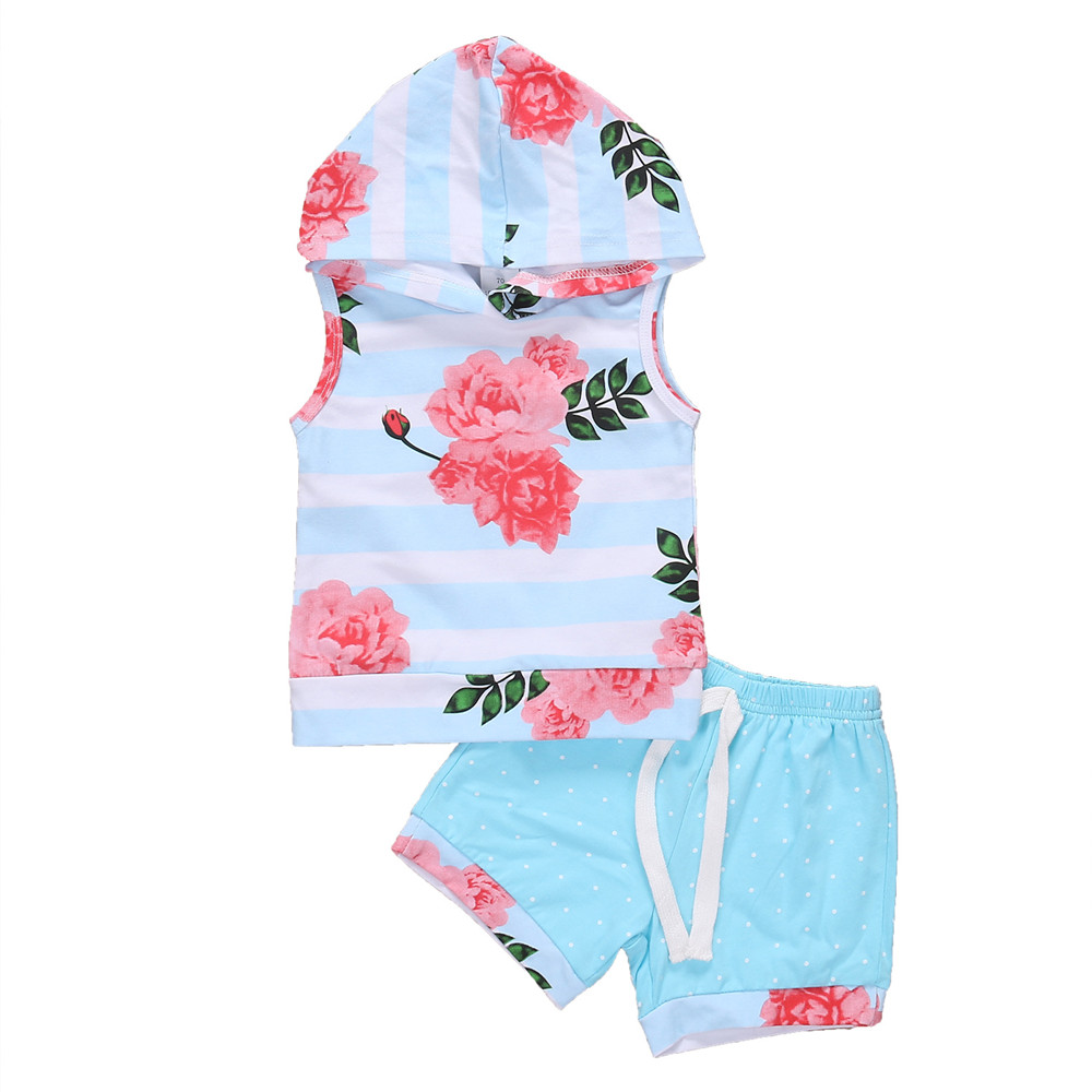 2Pcs High Quality Newborn Baby Girls Clothes Hooded Flower Sleeveless Tops Shorts Summer Outfits Baby Clothing Set