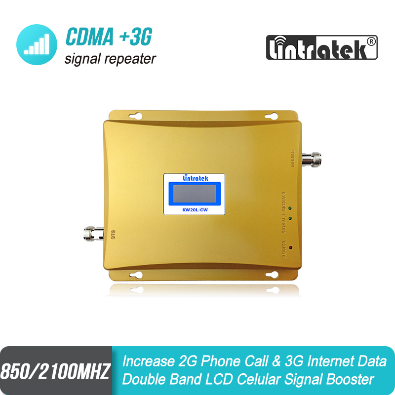 Lintratek LCD Display GSM <font><b>850</b></font> 3G <font><b>2100</b></font> Dual Band Repetidor Celular 65dBm Mobile Phone Amplifier GSM 850mhz Cell Phone Booster S34 image