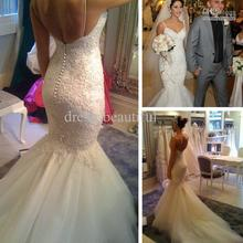 Sexy Mermaid Lace Tulle Wedding Dress Spaghetti Straps and Appliques Chapel Train Bridal Gowns Real Photo Custom made