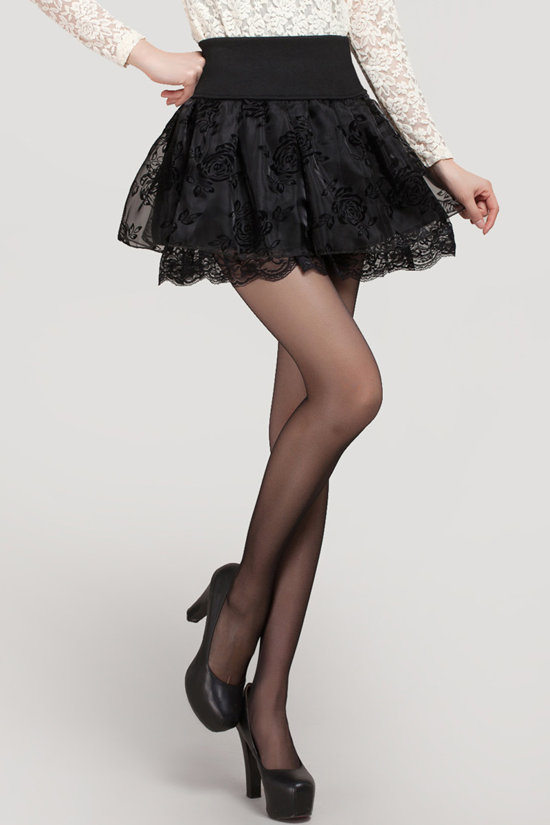 Zuolunouba 2018 Summer Skirt Preppy Style Flower Bow Mini Tutu Skirt Elasticity Lace Skirts Shorts Woman High Waist Large Size 4