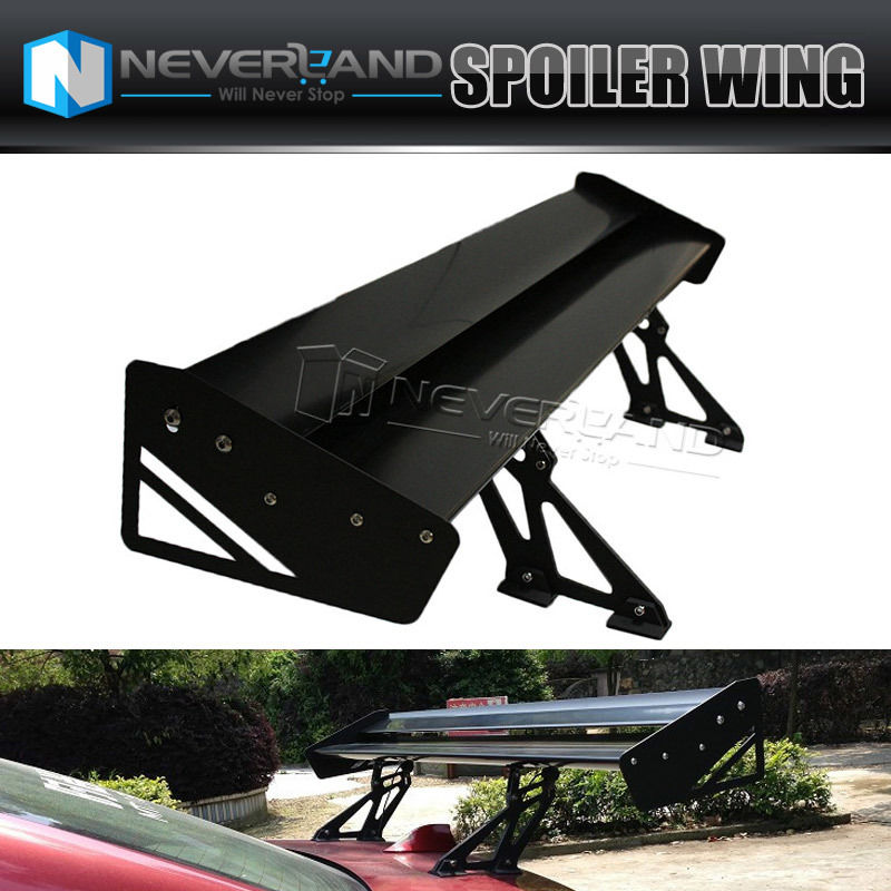 ФОТО Universal High Quality Lightweight Aluminum Double Deck GT Spoiler Rear Spoiler Wing Racing Black for Auto Car