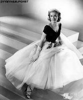 Vintage 50's Off Shoulder Tea Length Grace Kelly of Monaco White and Black Formal Evening Dress