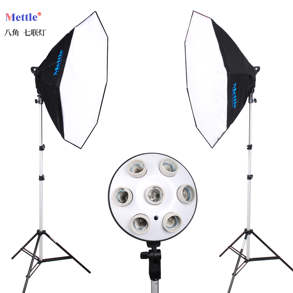 Photo stuido photography light Continuous Lighting 7 lamps holder softbox 2m stand kit Photography octagonal softbox NO00DC