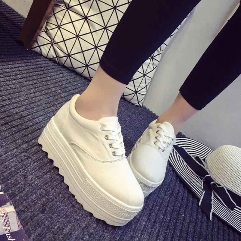12colors EUR35-39 new 2016 Low platform women canvas shoes lace up flat heel women Casual Shoes female shoes for women flats