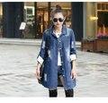 2016 Настоящее Кнопка Отверстие Пальто Джинсовые Куртки Женщин Весной Новый Игривый Личности Моды Длинный Абзац Пальто Большие Дворы Одежда NN3