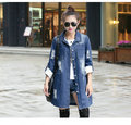 2016 Real Button Hole Coats Denim Jacket Women Spring New Playful Personality Fashion Long Paragraph Coat Big Yards Clothing NN3