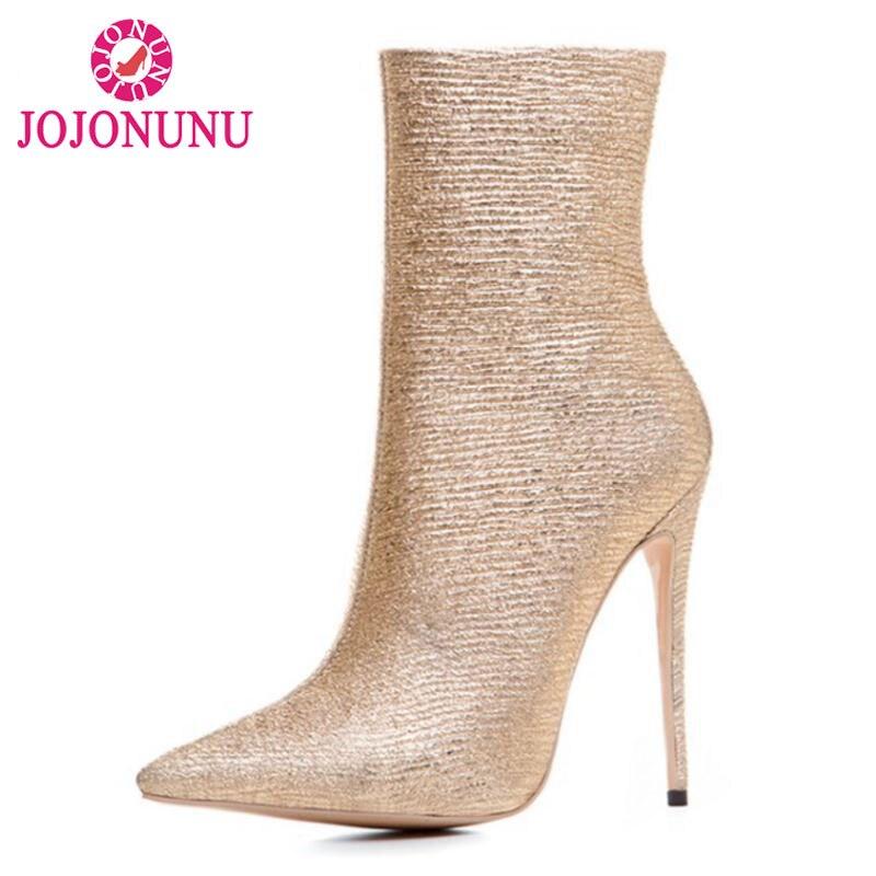 Jojonunu Zip Or Pointu Mince Chaussures Cheville Taille Chaussons 43 De Bout Haute Talons 33 Bottes Sexy Luxe Botas D'hiver Marque Femmes pOpArq