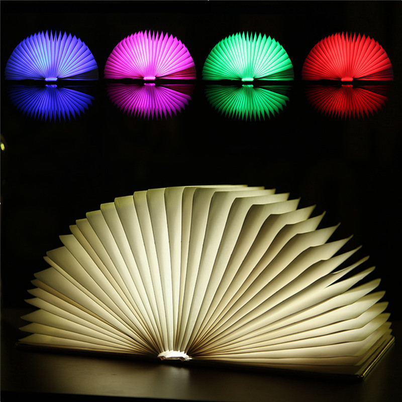 Colorful Creative Foldable Pages 7 colors Led wooden Book Shape Night Portable Booklight Usb Rechargeable Table Book Light 3pcs lot wooden foldable led nightlight booklight