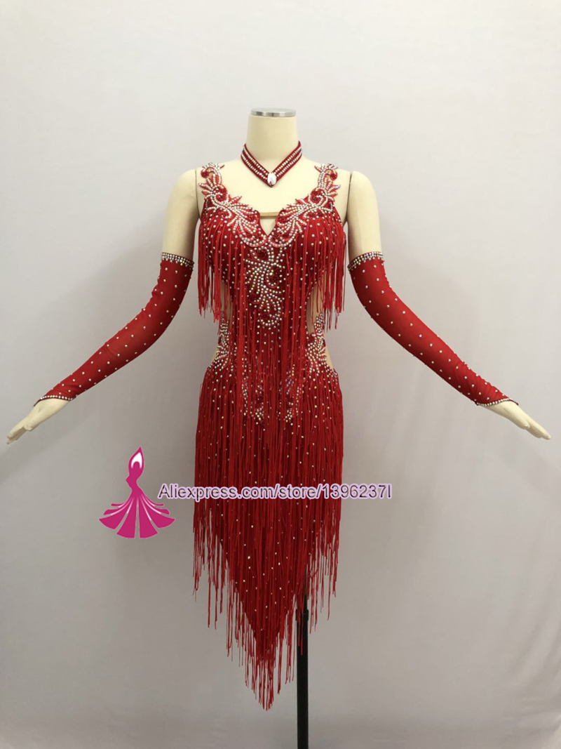 Image 2 - Red Latin Competition Dance Skirt Women 2019 New Custom Made Sexy Sumba Rumba Tassel Dancing Wear Adult Standard Latin Dress-in Latin from Novelty & Special Use