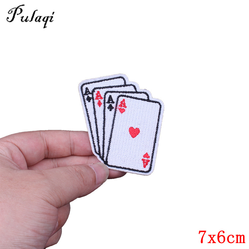 Playing Cards Patch Embroidered Iron Sew On Shirt Bag Poker Casino Biker Badge