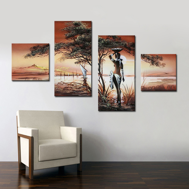 Hand painted nude african women image painting wall decorative painting 4 panel wall art for living