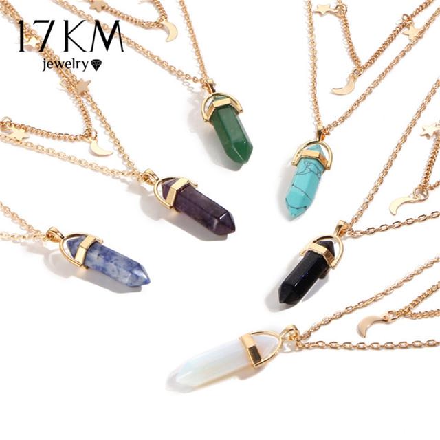 6 Colors Big Stone Moon & Star Pendant Tattoo Choker Necklace for Women Geometric Bohemian Necklaces Chain Boho Jewelry