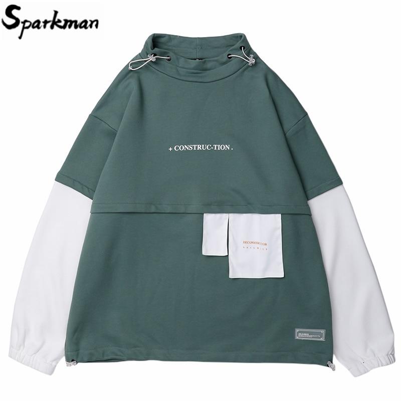 Hommes Hip Hop Sweat pull 2019 Harajuku à capuche Streetwear coton couleur bloc Patchwork Style coréen Sweat chemise automne nouveau