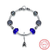 Ann Snow Chic Small Eiffel Tower With Blue Color Glass Beads 925 Sterling Silver Snake Chain
