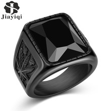 e315ccc02448 Jiayiqi hombres Hiphop Ring 316L acero inoxidable negro rojo piedra anillo  roca moda joyería masculina