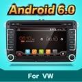 2 два дин Aux gps Quad Core android 6.0 автомобильный dvd Pc player Gps-навигации Стерео Видео Мультимедиа Емкостный Экран Для VW Skoda