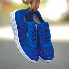 Summer Casual Shoes For Men 2018 Fashion Breathable Mesh Lace up Lover Shoes Men Flats Sneakers Plus Size 36-48