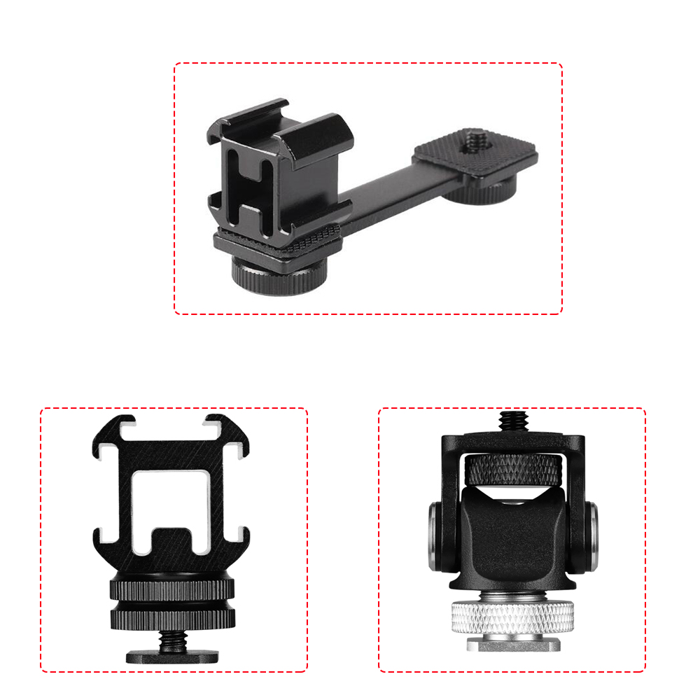 3 In 1 Triple Cold Shoe Mount Plate Microphone Stand LED Video Light Extend Bracket For