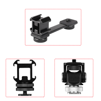 3 In 1 Triple Cold Shoe Mount Plate Microphone Stand LED Video Light Extend Bracket For Zhiyun Smooth 4 Axis Gimbal Stabilizer - sale item Camera & Photo