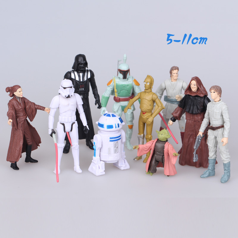 NEW hot 5-11cm 9pcs/set Star Wars 7: The Force Awakens Yoda Darth Vader Bounty Hunter action figure toys Christmas gift xqdz88